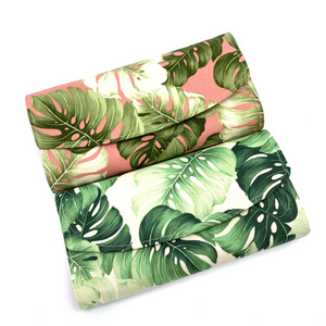 Handsewn Red/Green Packet Organiser - Wild Leaves (Cream)