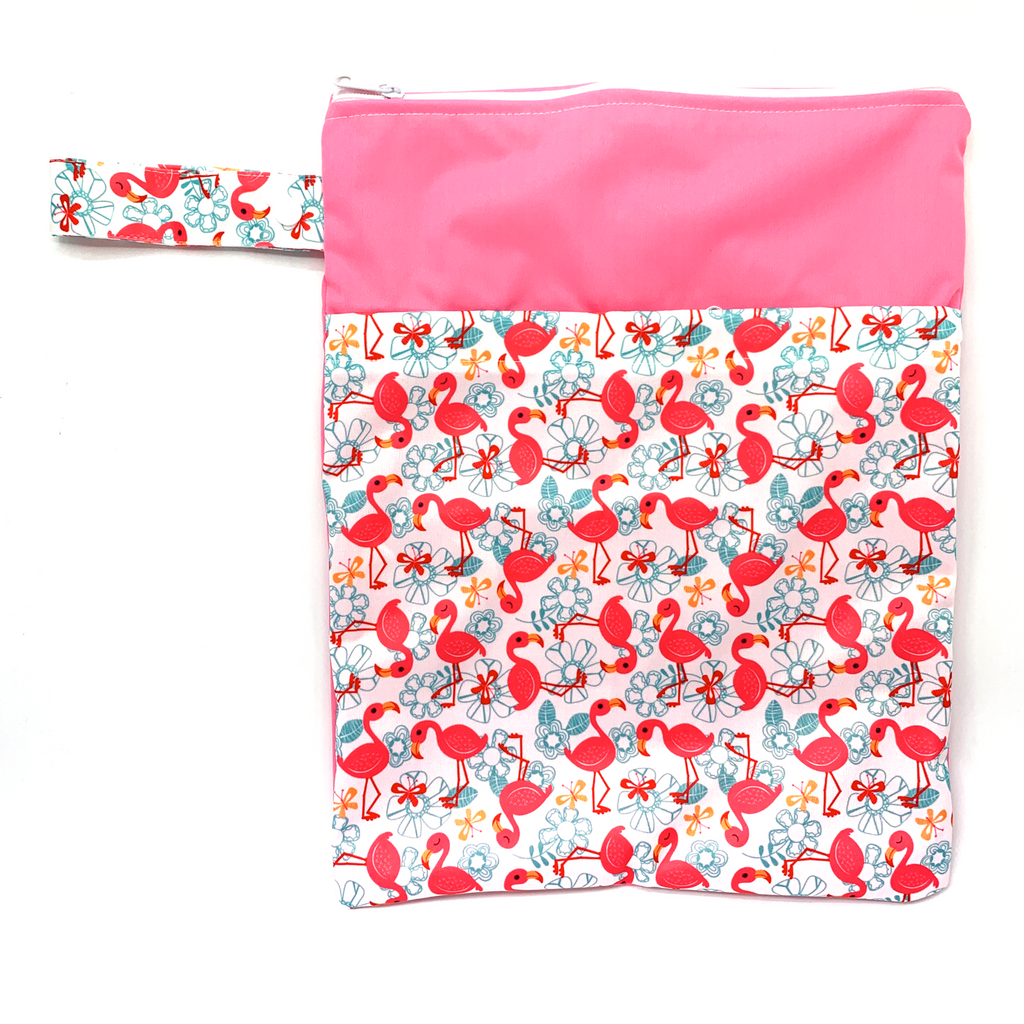 Large Wetbag (Strip) - Pink Flowery Flamingoes