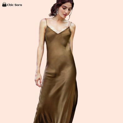 Satin V Neck Backless Dress