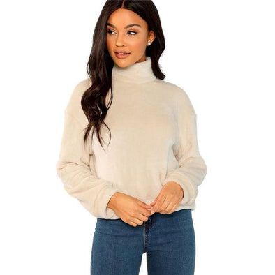 Apricot Elegant High Neck Faux Fur Sweater - Chic Sara