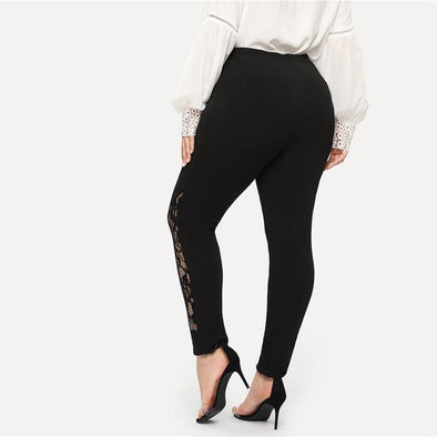 Black Casual Sheer Lace Pants