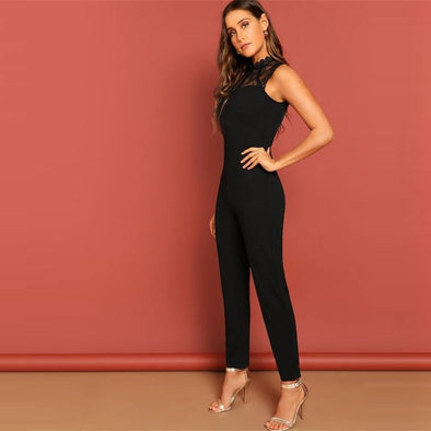 Black Constract Lace Jumpsuit