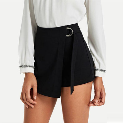 Black Elegant Wrap Shorts