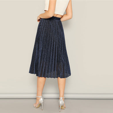 Navy Glitter Glamorous Long Pleated Skirt
