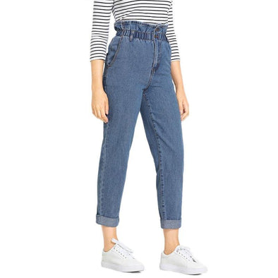 Blue Rolled Hem Frill High Waist Jeans - Chic Sara