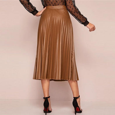 Camel Solid Pleated Elegant Leather Skirt
