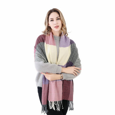 Luxury Plaid Cashmere Thick Scarf