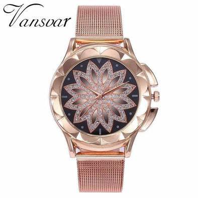 Fashionable Flower Rhinestone Wrist Watch