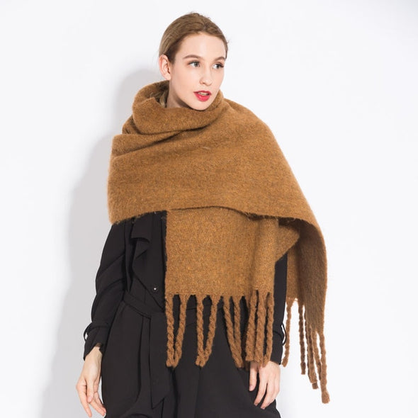 Solid Colour Scarf with Tassel