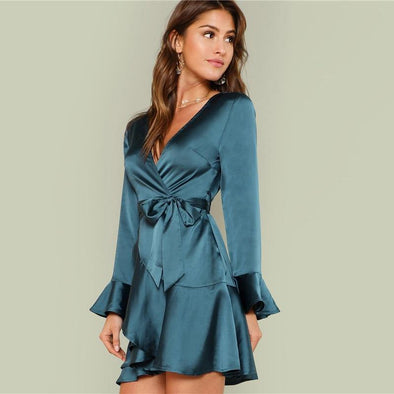 Blue Elegant Deep V Dress