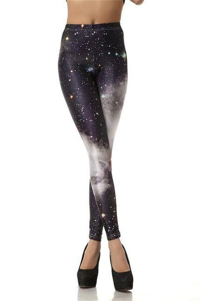 3D Digital Black White Galaxy Leggings - Chic Sara