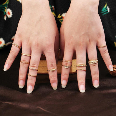 12 pc/set Charm Gold Color Midi Finger Ring Set - Chic Sara