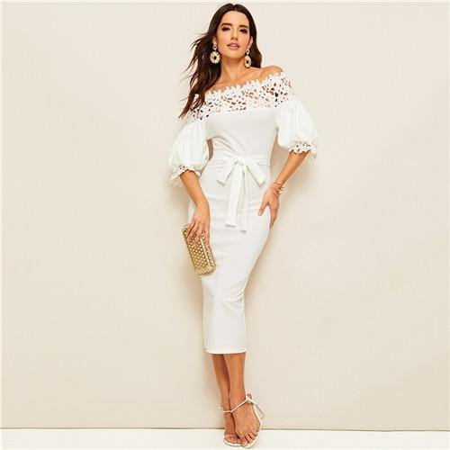 White Guipure Lace Yoke Bishop Sleeve Pencil Dress