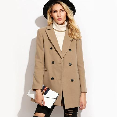 Camel Double Breasted Winter Coat - Chic Sara
