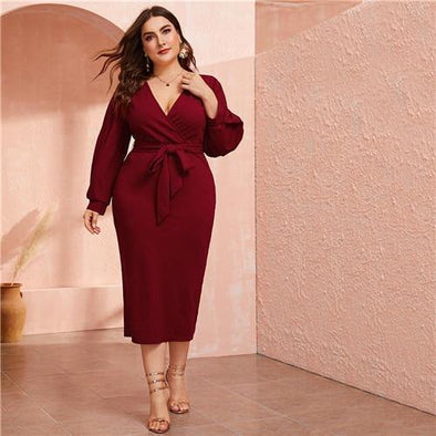 Burgundy Plunging Neck Wrap Belted Pencil Long Dress