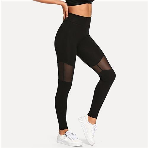 Black Casual Sexy Contrast Mesh Leggings - Chic Sara