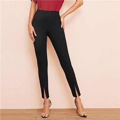 Black Split Hem Cigarette Pants