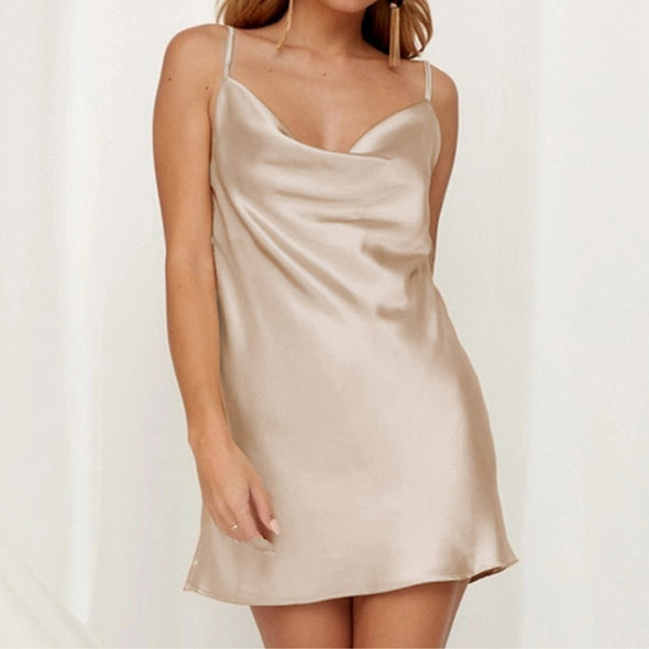 Satin Sleeveless Spaghetti Strap Dress