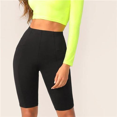 Black Solid High Waist Athleisure Shorts