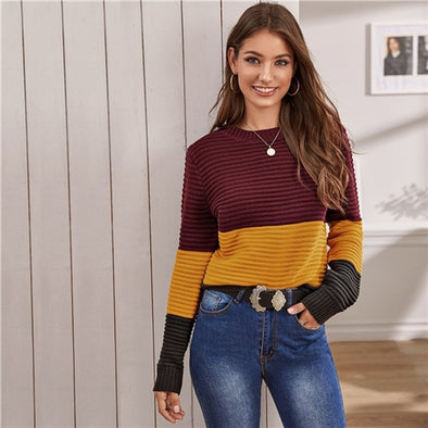 Color Block Rib-knit Soft Warm Sweater