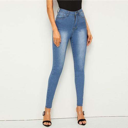 Bleach Wash Pocket Stretchy Skinny Jeans