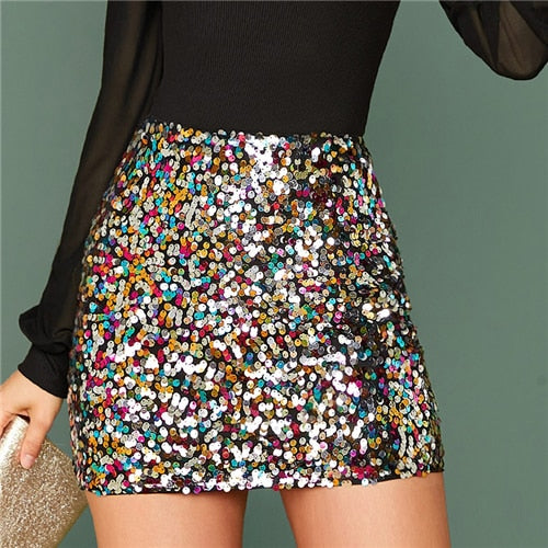 Multicolor Glamorous Colorful Sequin Skirt