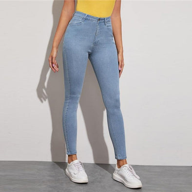 Blue Solid Light Wash Casual Jeans - Chic Sara