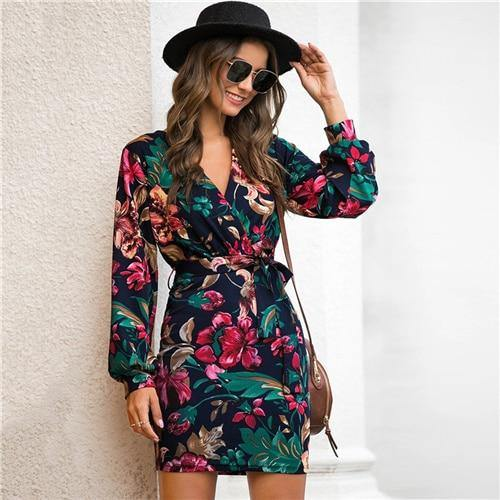 V Neck Floral Print Casual Belted Pencil Dress