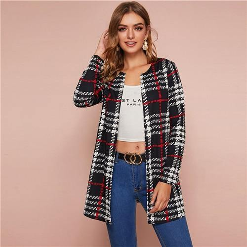Black and White Plaid Print Open Front Coat - Chic Sara