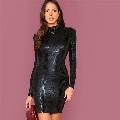 Black Mock Neck Crocodile Embossed Dress