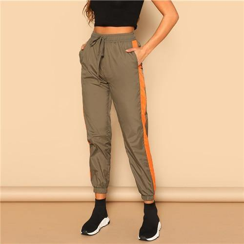 Army Green Contrast Tape Side Pants - Chic Sara