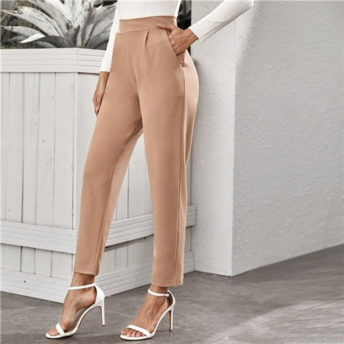 Nude High Waist Slant Pocket Tailored Pants