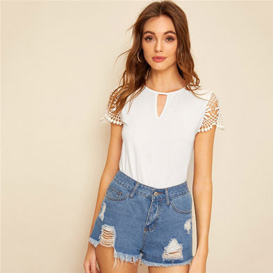 Cut Out Front Guipure Lace Short Sleeve Top