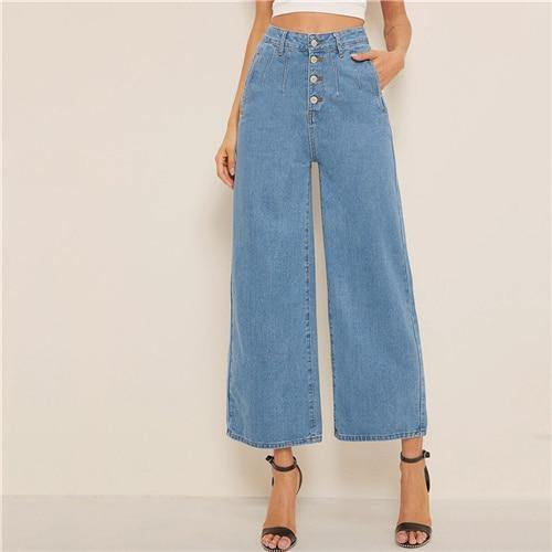 Blue Button Fly Loose Wide Leg Jeans - Chic Sara