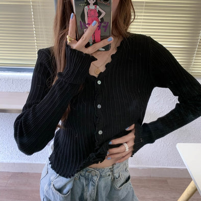V-Neck Knitted Casual Ruched Short Sweater