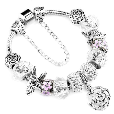 Crystal Flower Beaded Bracelets - Chic Sara