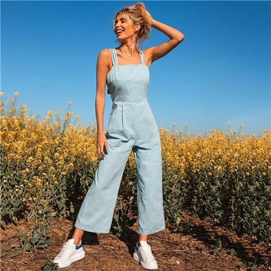 Pastel Blue Tie Back Cami Wide Leg Jumpsuit