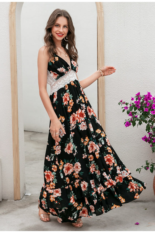 Flowery Deep V Sexy Dress