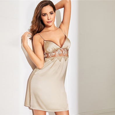 Champagne Floral Lace Satin Cami Night Dress
