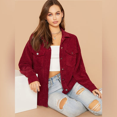 Flap Pocket Front Cord Casual Jacket