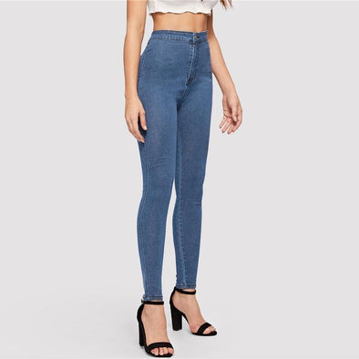 Casual High Waist Skinny Jeans - Chic Sara