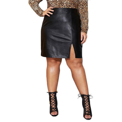 Black Split Side Skinny PU Skirt - Chic Sara