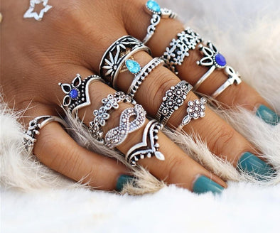 Retro Flower Infinite Knuckle Rings