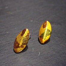 "Pierced earrings ""Leaf"" with gold leaf"