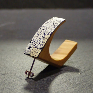 Urushi & boxwood pierced earring block