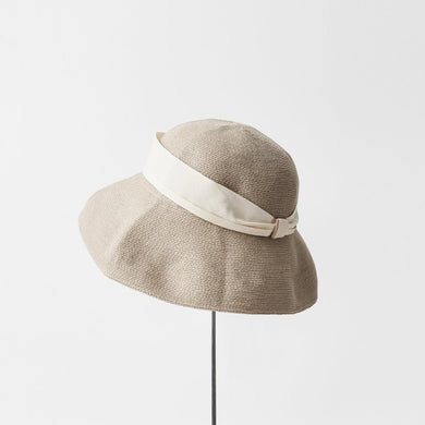 Hemp linen braid hat low wide