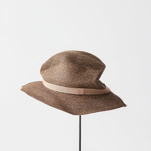 BOXED HAT / 6.5cm brim grosgrain ribbon
