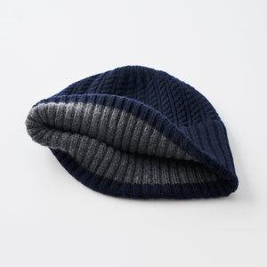Long rib knit cap tiny rope lamb
