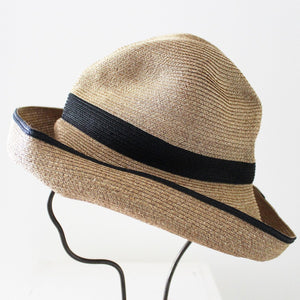 BOXED HAT for woman / 11cm brim switch color line wide