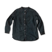 Hand Dyed Stand Collar Linen Shirt / Black